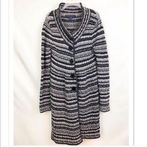 French Connection Striped Wool Duster Cardigan M